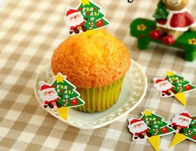 (甜心手作坊)聖誕節蛋糕裝飾插卡 蛋糕插牌50個(C款)