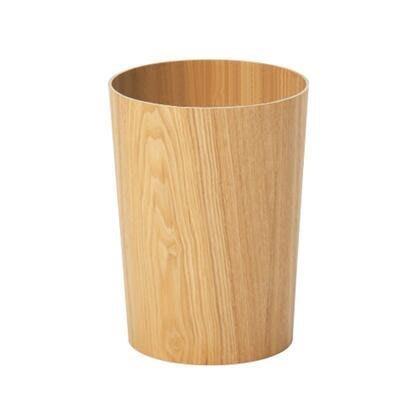 【優上】升級款水曲柳圓桶無印木製垃圾桶圓形廢紙簍酒店
