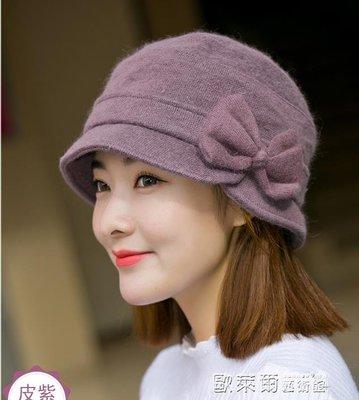 發帽 漁夫帽子女士盆帽蝴蝶結毛混紡針織毛線帽保暖