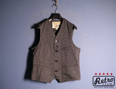 Retro CLUB【一元起標】【二手】日本品牌 Sugar Cane 日製 雪花灰 復古工裝背心 美式風格 S2108