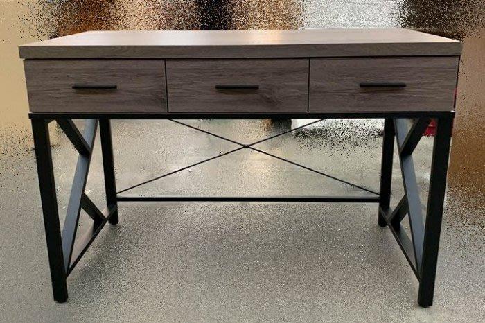 【樂居二手家具館】LC113CJ15 全新灰橡木4尺三抽書桌 電腦桌 洽談桌 辦公桌 傢俱廣場拍賣客廳桌電視櫃