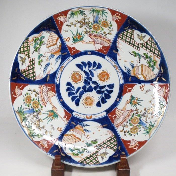 日本 明治  老伊萬里 青花五彩  花碟紋大盤 直徑約45.9公分