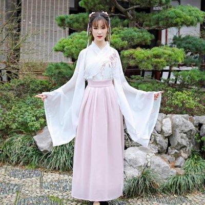 交領漢服女連身裙廣袖改良古風裙子學生古裝仙女飄逸日常清新淡雅