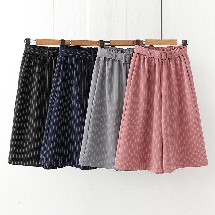 現貨☆紫米粒小舖☆【R55026】褲子 日系森女系豎條紋腰帶休閒七分褲。