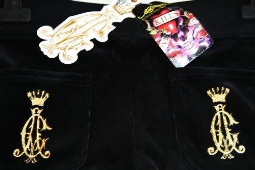 ALL NEW ED HARDY Christian Audigier velour PANTS黑色厚天鵝絨金屬logo長褲