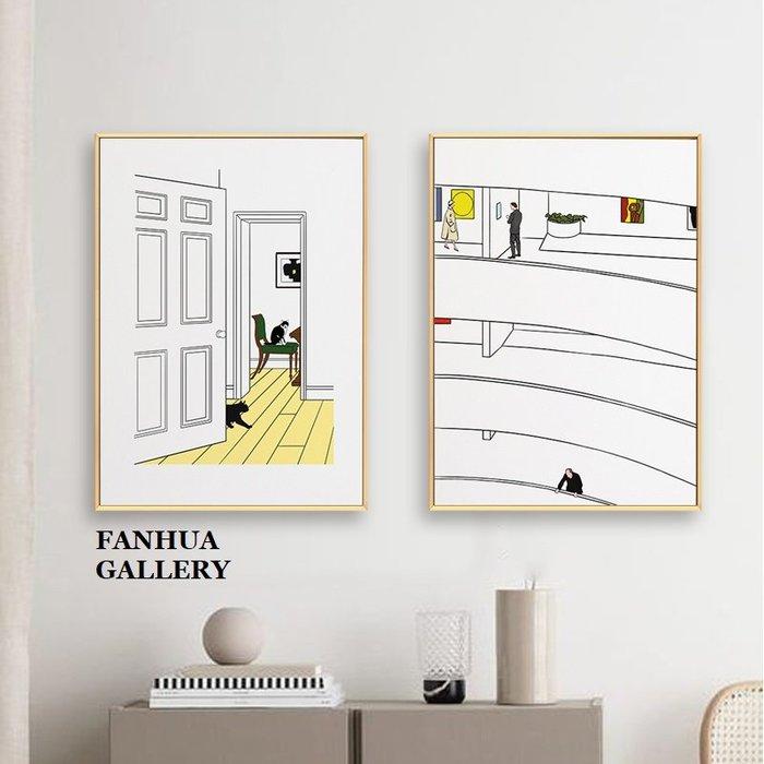 C - R - A - Z - Y - T - O - W - N 溫馨親子一家人掛畫情侶兒童房卡通簡筆可愛插畫風裝飾畫