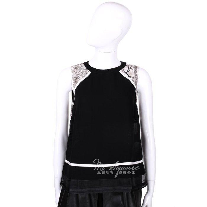 米蘭廣場 CLASS roberto cavalli 黑色蛇紋印花拼接無袖上衣 1520557-01