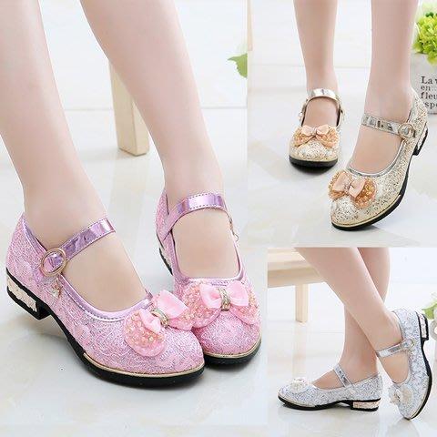 東大門平價鋪  新款女中大童水鑽軟底小高跟皮鞋,韓版女孩演出公主鞋