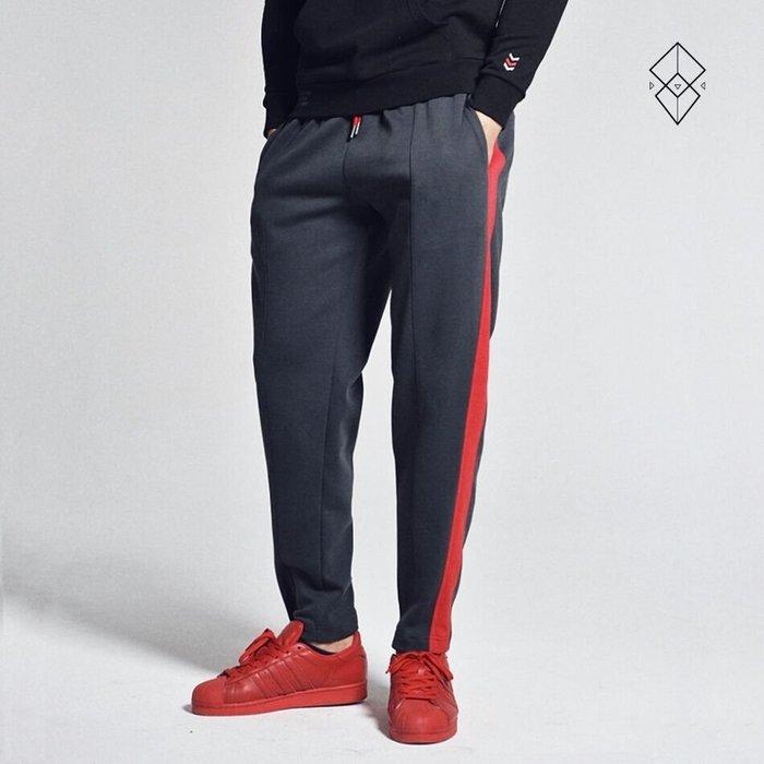 【OTOKO Men's Boutique】固制:拼條撞色直筒運動長褲/鐵灰色(台灣獨家代理)