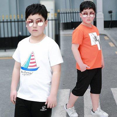 hello小店-胖童男童夏季2019新款短袖套裝兒童加肥加大運動休閑大童兩件套潮#兒童上衣#襯衫#短袖t恤#