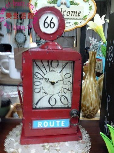 OUTLET限量低價出清美生活館鄉村 工業  LOFT 風 鐵藝 加油站造型 壁鐘 鑰匙盒 KEYBOX 兩用