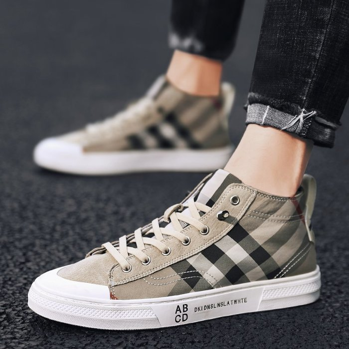 TIME&NES~高幫鞋百搭男鞋2020春季新款男士帆布鞋英倫風休閒鞋夏季透氣板鞋