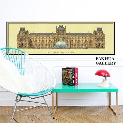 C - R - A - Z - Y - T - O - W - N 法國羅浮宮橫幅掛畫復古建築裝飾畫現代家居咖啡店禮品畫