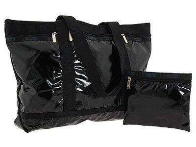 美國名牌 LeSportsac 7008 專櫃經典款黑色亮面肩背/斜背/媽媽包/托特包(大款)現貨在美特價$2980含郵