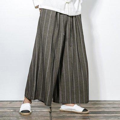 FINDSENSE Z1 日系 流行 男 時尚 寬鬆 舒適 寬管 亞麻 豎條紋 細條紋 休閒長褲