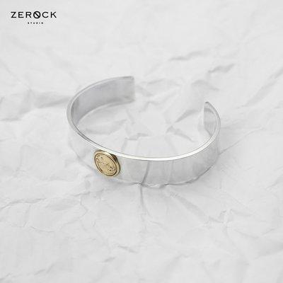 《ZEROCK》ANVIOLOGY HANDCRAFT 冶金工邏輯 925純銀 18K圓金牌平打手環