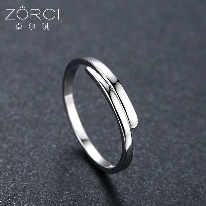 FEI日韓代購~925純銀簡約開口可調節戒指女 食指學生指環小指尾戒單身冷淡風