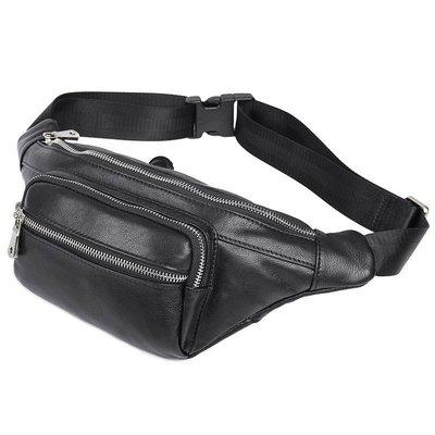 腰包真皮肩背包-純色牛皮休閒實用男包包2色73vx4[獨家進口][米蘭精品]