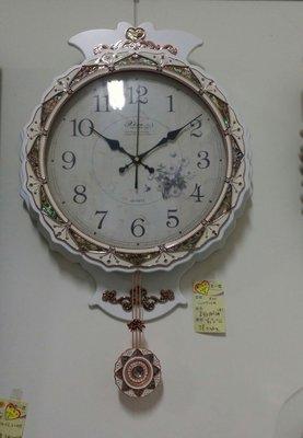 OUTLET限量低價出清美生活館---全新古典風格--皇冠(白)古典琺瑯處理復古造型擺鐘/時鐘/掛鐘--店面餐廳民宿