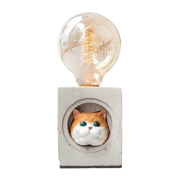 【曙muse】英國短毛可愛小喵咪桌燈 個性水泥桌燈 造型檯燈 Loft 工業風 咖啡廳 民宿 餐廳 居家擺設