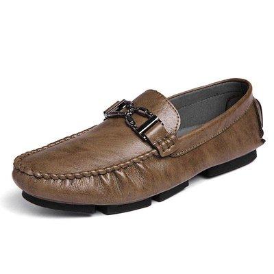 日和生活館 秋冬新款男士休閒百搭牛皮豆豆鞋英倫手工透氣耐磨牛皮潮流駕車鞋 639D88