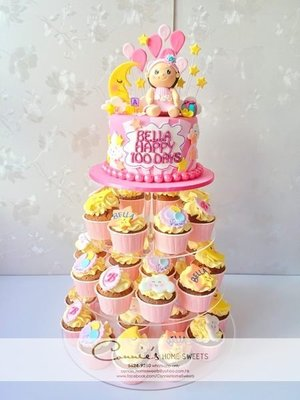 【Connie's Home Sweets】Cupcake tower 生日蛋糕 百日宴蛋糕 100 days cake birthday cake1