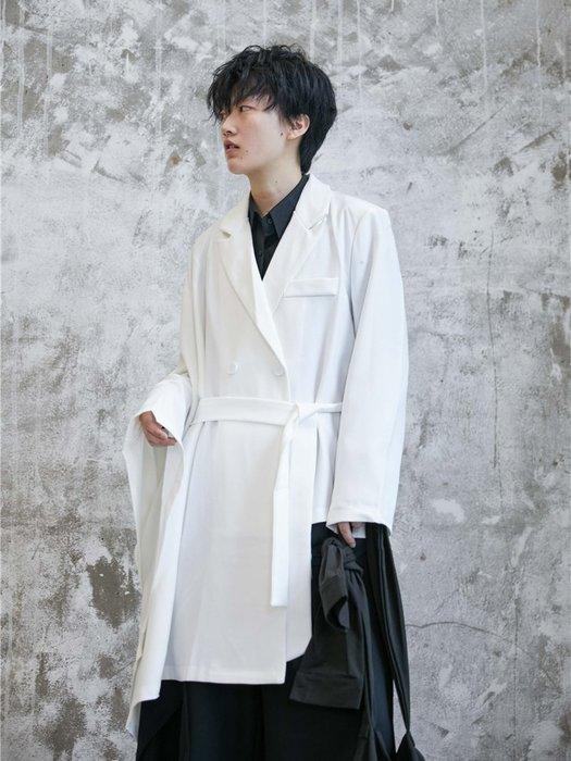 【鈷藍家】山本風SU秋小眾Yohji不規則外披暗黑設計不對稱斗篷中長西裝外套