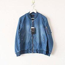 【傑森精品】日本 SLICK 日式 韓版 復古 INDIGO靛藍染 彈力 針織牛仔 寬鬆 短款 MA-1 飛行外套 夾克