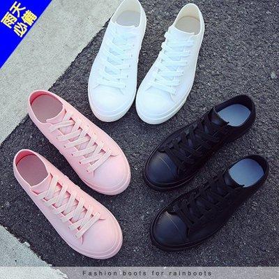 女款 經典帆布造型雨鞋 一體成型防水防滑 需綁帶 防水鞋 雨鞋 小白鞋 短筒雨靴 帆布鞋 Ovan