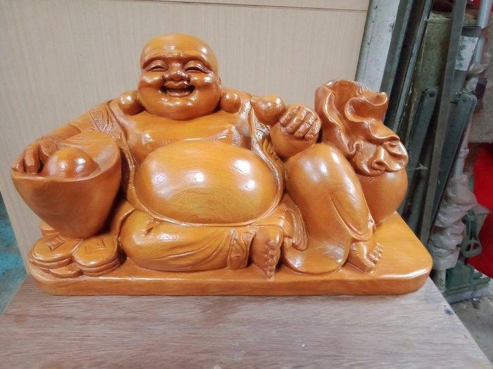 1呎6 坐姿彌勒佛財神爺 檜木雕刻 作者:柯金坤