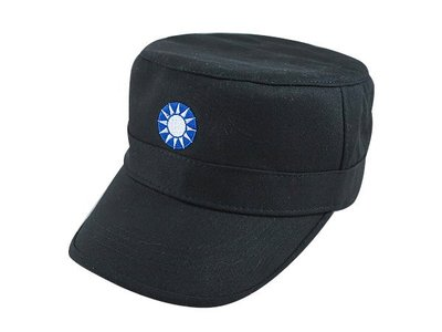 【二鹿帽飾】男帽女帽 -新潮流時尚新風格 /黑色 / 國民黨徽 硬挺 軍帽-MIT