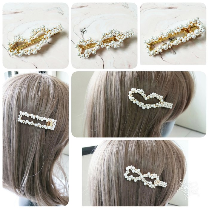 【Love Trina】9107-0420。蝴蝶結。愛心。長方型大小珍珠金屬壓夾(7CM)。髮夾。髮飾(1色)