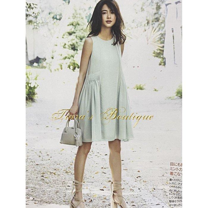 FOXEY NEW YORY 日本女性憧憬度第一的淑女品牌 莫蘭迪色薄荷綠 麻料質感 荷葉襬 休閒洋裝 日本製(422)