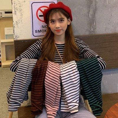 打底衫女2020春季新款洋氣內搭圓領條紋T恤韓版長袖修身學生上衣