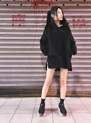 【inSAne】韓國購入 / 拼接 / 下擺開衩 / 口袋 / 帽TEE 黑色