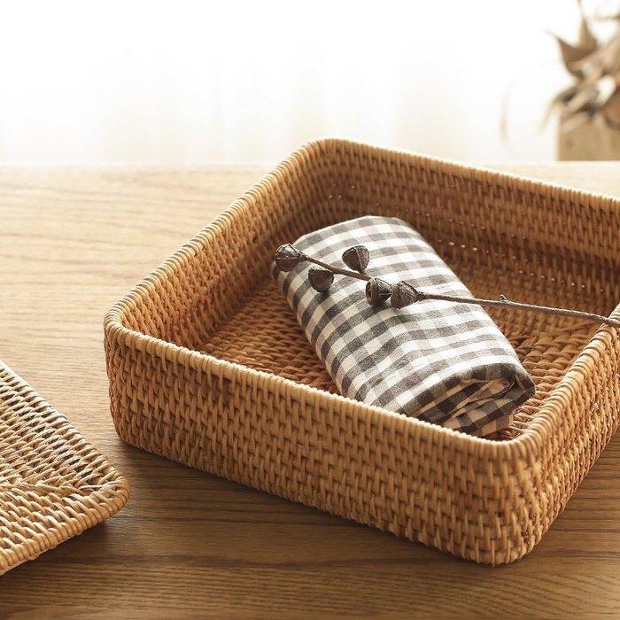 越南純手工編織藤編竹編桌面收納筐民宿裝飾有蓋分格儲物盒整理籃