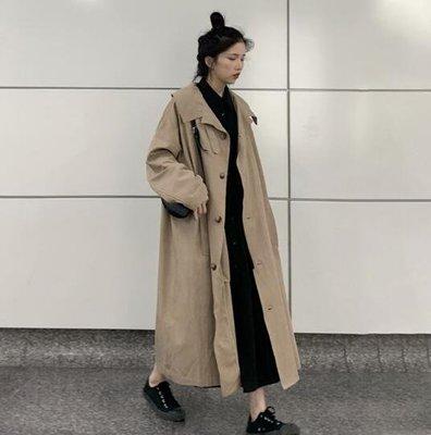 風衣外套  韓 撞色 長 外套 系帶翻領單排扣過膝風衣 顯高口袋中長款外套 莎芭