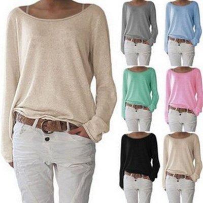 韓國麻豆家~Women's pure color, backing of knitted T-shirt unlined upper