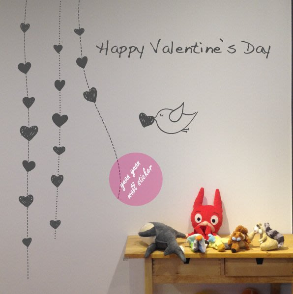 【源遠】愛心鳥、情人節【F-14】壁貼 壁紙 裝潢 室內設計 民宿  創意 大型 玻璃貼紙