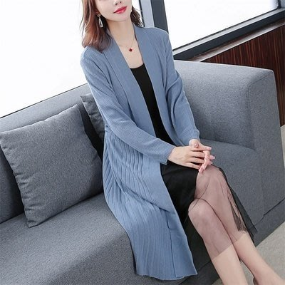 原創 貴氣寬鬆開衫韓版薄針織款外套女裝秋季新款中長款.MC001-B.5387