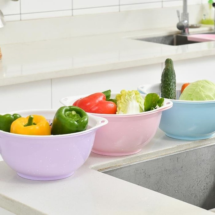 塑料圓形雙層洗菜盆瀝水籃水果盤子廚房客廳家用果蔬滴水Y-優思思