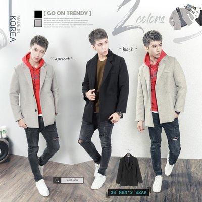 。SW。【K71338】免運 正韓Bl 韓國製 質感高磅毛尼 Oversize 微寬鬆  短大衣外套 英倫 GD