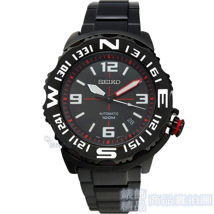 SEIKO 精工表 SRP447K1 SPORTS 夜光 IP黑 手自動上鍊機械 男錶【錶飾精品】