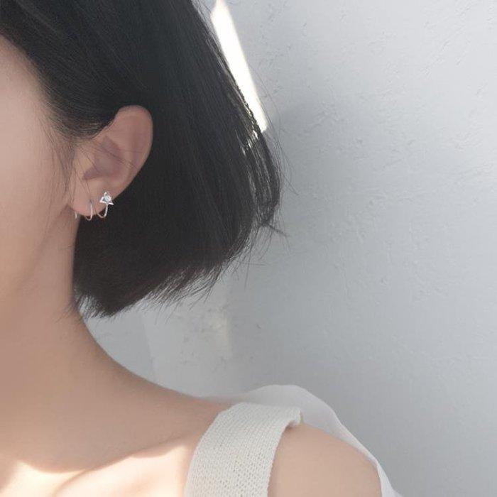 小麋人創意簡約三角形玩味閃S925銀質耳釘彈簧螺旋雙層耳環女款