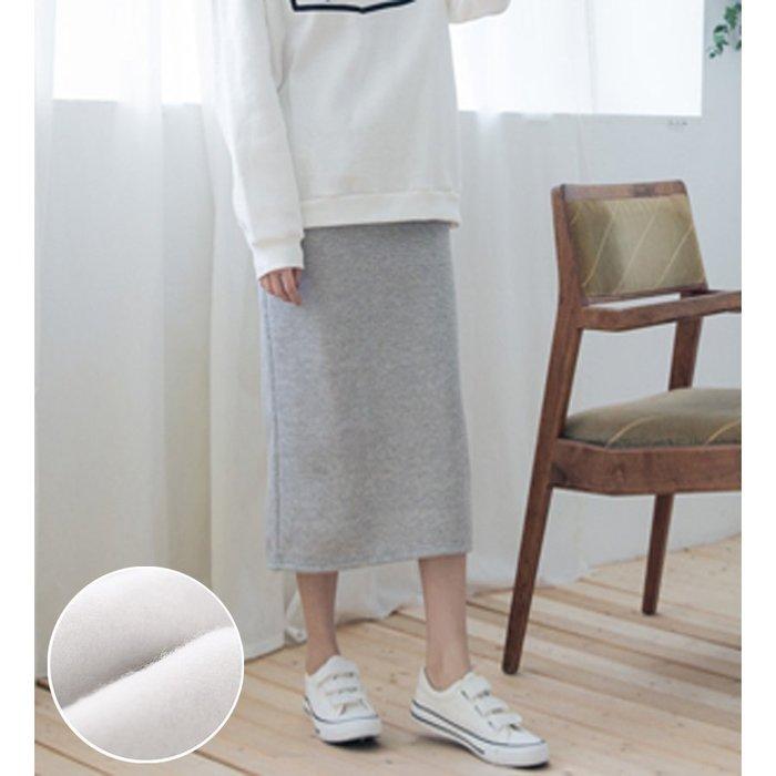 【Hao Da】全館399免運↘「M~XL。現貨」大絨刷毛 後開岔 長裙 (P1048)