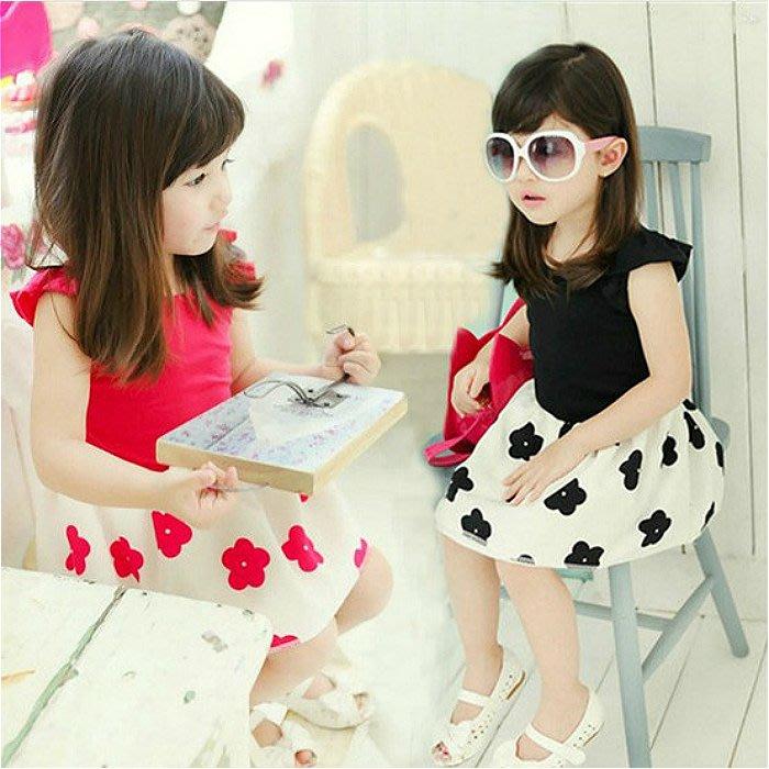 韓版《飛袖花朵款》甜美短袖小洋裝 (J3-2)