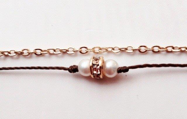 [Le Bonheur Line] 幸福線 手工 / 迷你 珍珠3mm  雙鏈 /  紅線 手鍊  鎖骨鏈 韓版 韓風