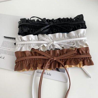 褶皺寬鬆緊腰封綁帶款式 【UD005】