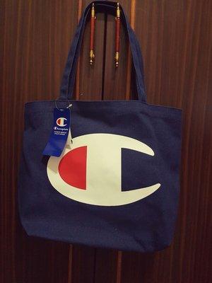 全新 日本 帶回 champion 大LOGO深藍棉質 托特包 (非 藤原浩, nike )