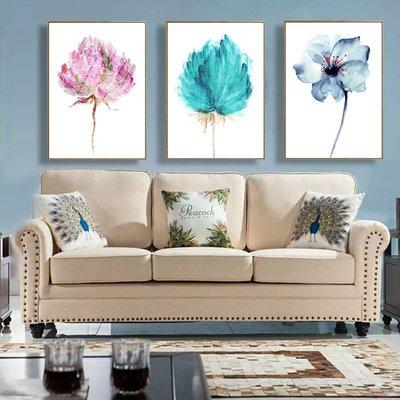 北歐客廳裝飾畫油畫現代臥室壁畫清新玄關花 沙發背景墻畫掛畫 超夯